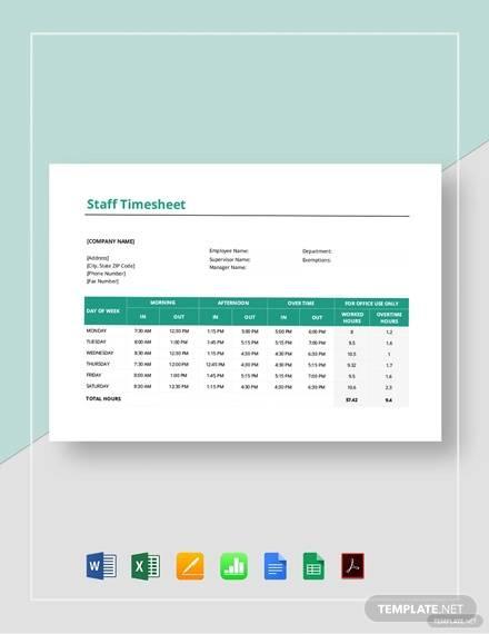 staff timesheet template