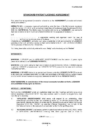 standard patent license agreement sample