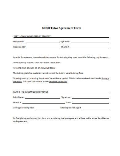 standard tutor agreement form