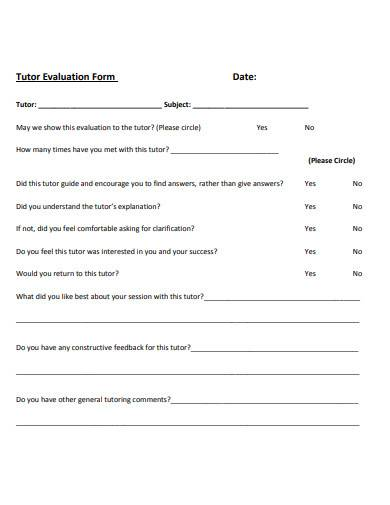 standard tutor evaluation form