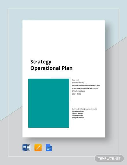 strategy operational plan template