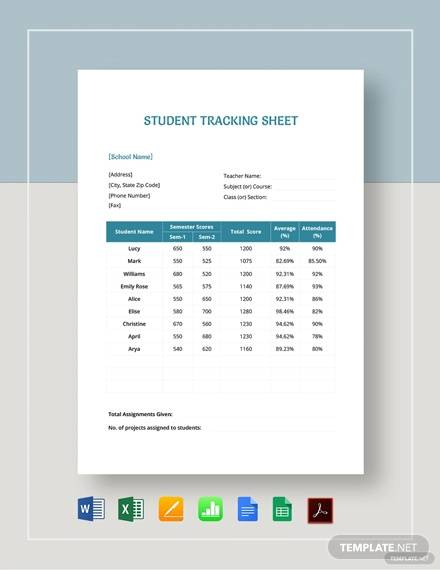 student tracking sheet template