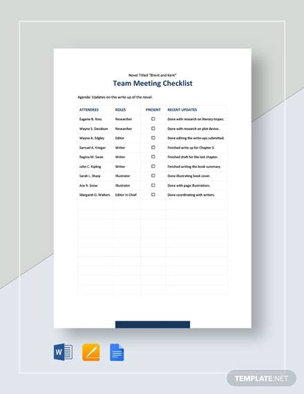 team meeting checklist template