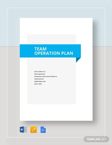 team operational plan template