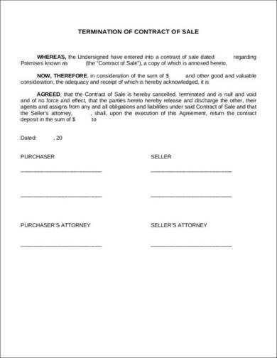 termination of contract of sale 1