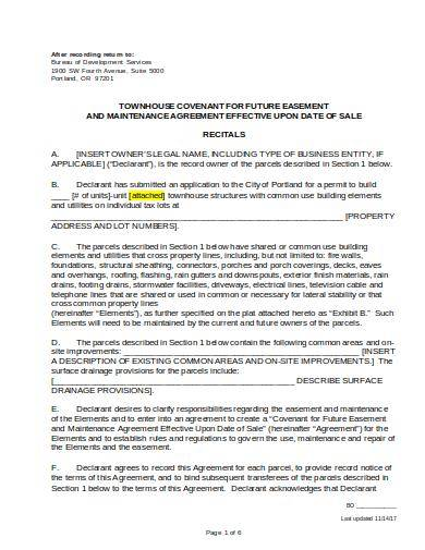 townhouse maintenance agreement template