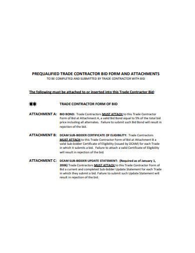 trade contractor bid form sample