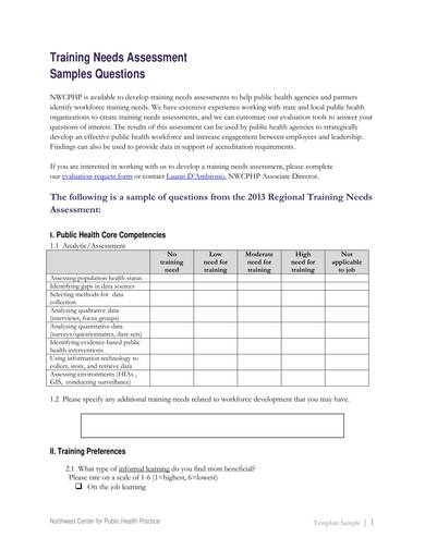 training needs assessment sample questions