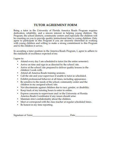 tutor agreement form sample