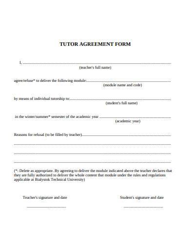 tutor agreement form