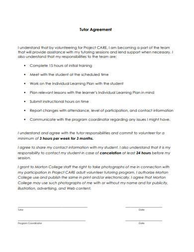 tutor agreement