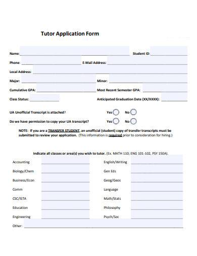 tutor application form