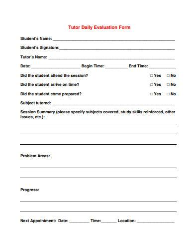 tutor daily evaluation form