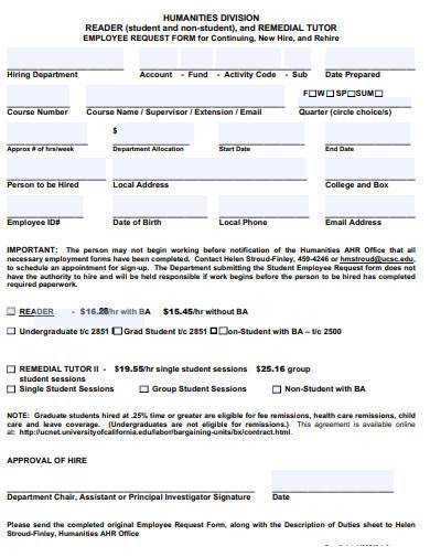 tutor employee request form