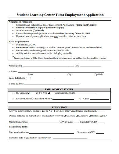 tutor employment application