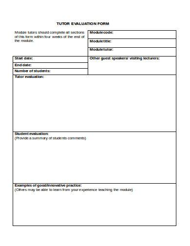 tutor evaluation form example