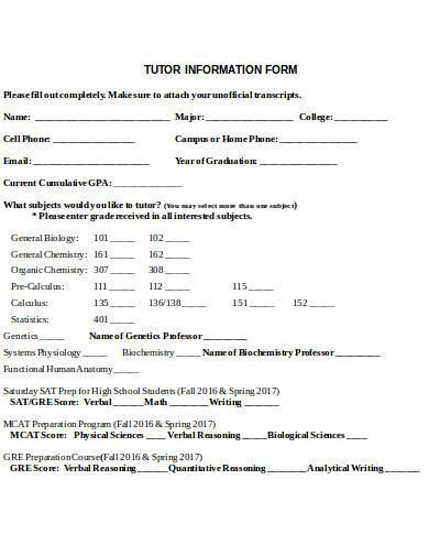 tutor information form example