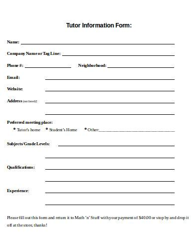 tutor information form in doc