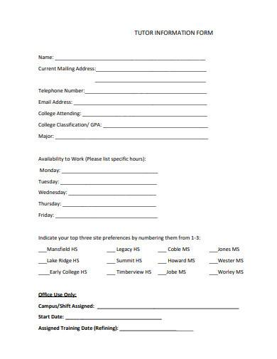 tutor information form