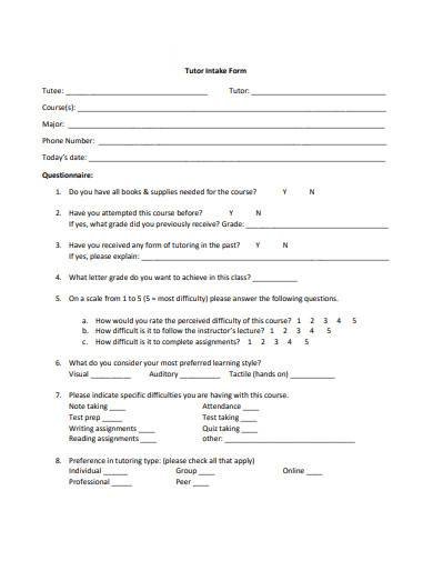 tutor intake form