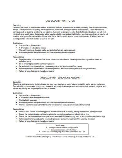 tutor job description sample