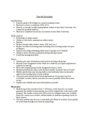 tutor job description in doc