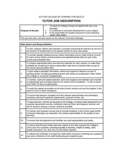 tutor job description in pdf