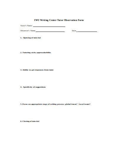 tutor observation form in doc
