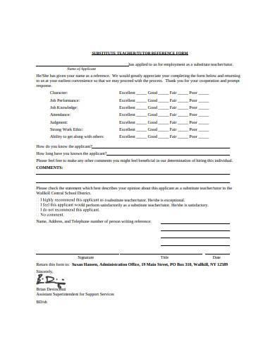 tutor reference form sample