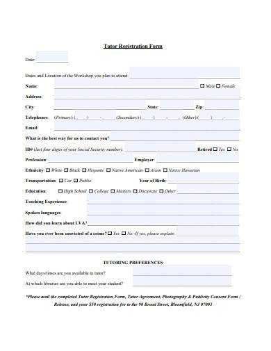 tutor registration form example