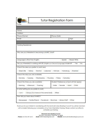 tutor registration form sample