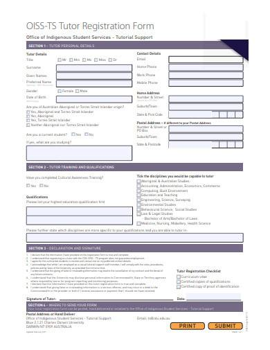 tutor registration form template