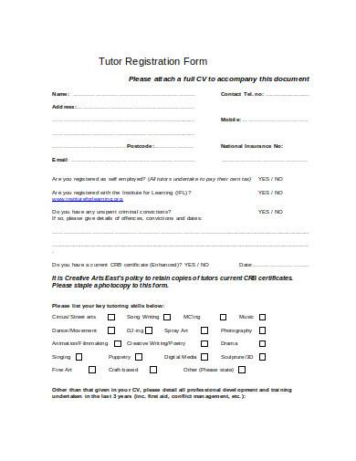tutor registration form in doc