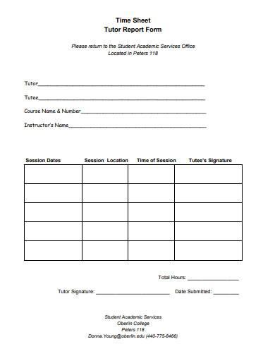 tutor report form time sheet template