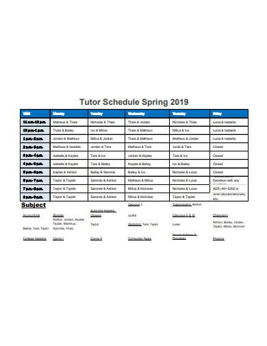 tutor schedule example
