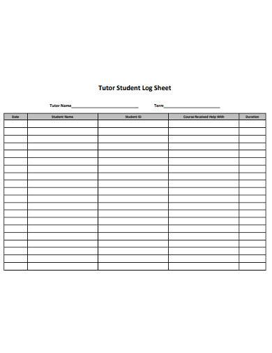 tutor student log sheet