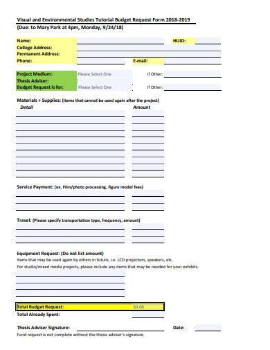 tutorial budget request form