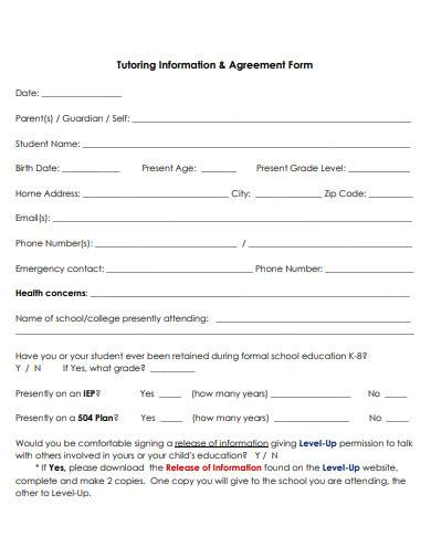 tutoring information and agreement form