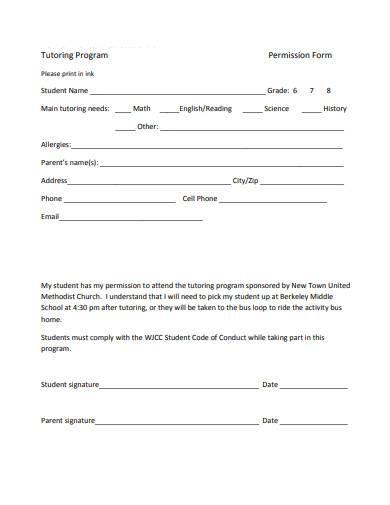 tutoring permission form sample