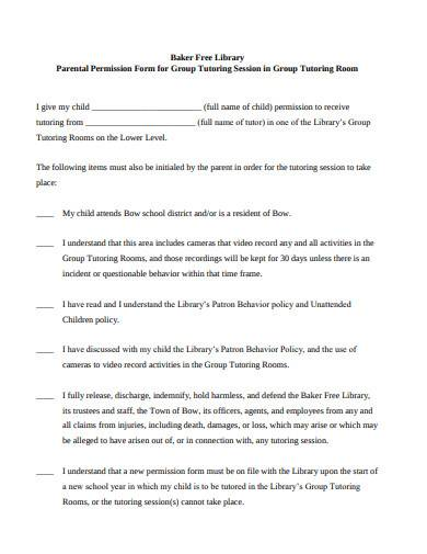 tutoring permission form in pdf
