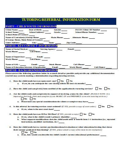 tutoring referral information form