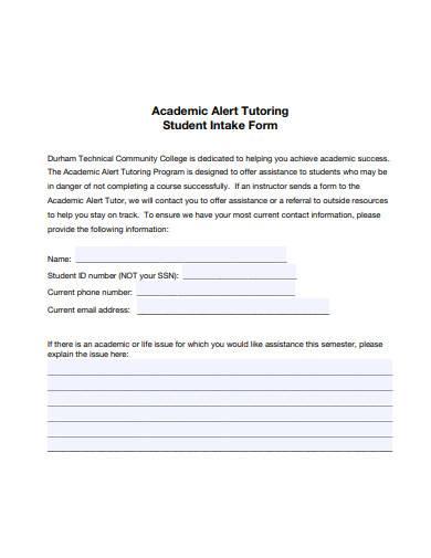 tutoring student intake form