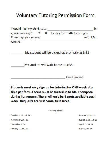 voluntary tutoring permission form