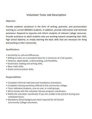 volunteer tutor job description