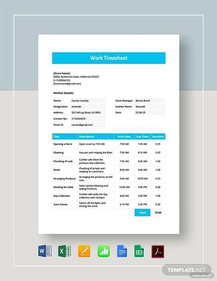 work timesheet template