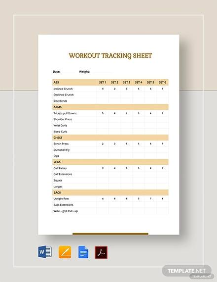 workout tracking sheet template