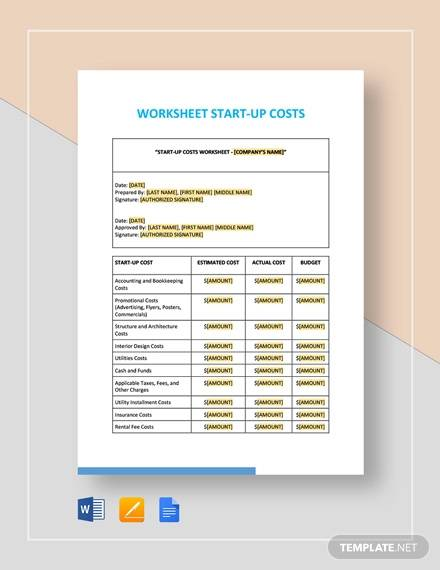 worksheet start up costs template