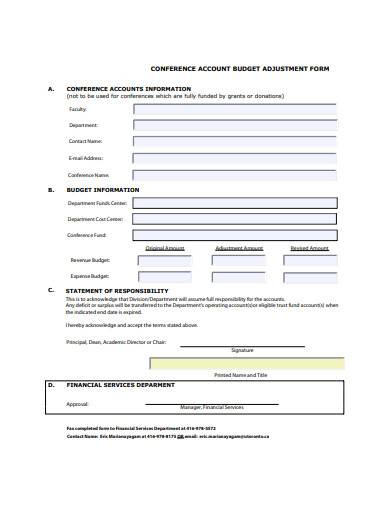 account budget form template