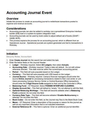 accounting journal event sample