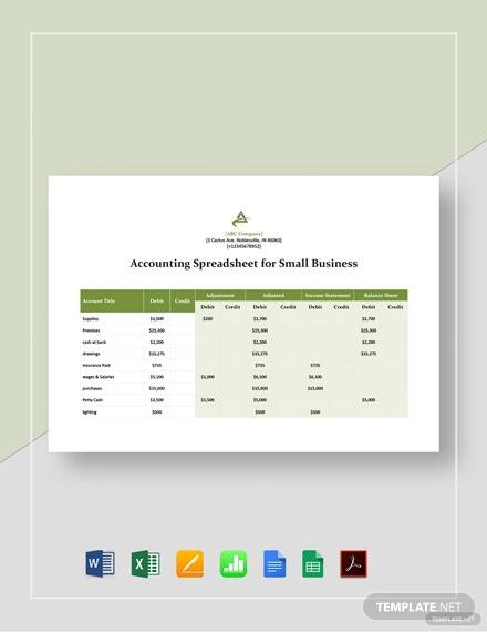 Free 12 Accounting Spreadsheet Samples And Templates In Pdf